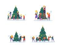 Плоские счастливые люди украшая рождественскую елку Веселая партия праздника Xmas Характеры празднуя канун Нового Годаа иллюстрация вектора