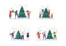 Плоские счастливые люди украшая рождественскую елку Веселая партия праздника Xmas Характеры празднуя канун Нового Годаа бесплатная иллюстрация