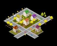 Плоские улица и дома Концепция Infographic 3d навигации GPS ландшафта равновеликая иллюстрация штока