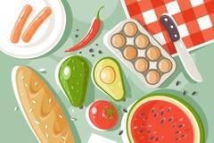 Плоские установленные продукты пикника с хлебом, арбузом, яйцом, сосиской, томатом, бумагой бесплатная иллюстрация