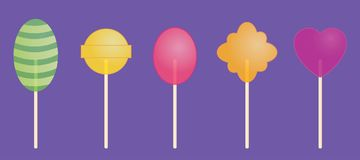 Плоский вектор: комплект 5 прозрачных конфет Стоковое Изображение RF