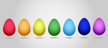 Плоский вектор: Комплект 7 яичек для торжества счастливой пасхи В комплекте яичек всех цветов радуги Стоковые Фото