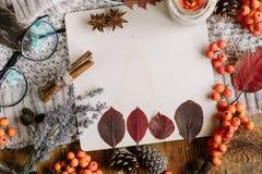 Плоский взгляд положения листьев осени и тартана текстурировал свитер на деревянной предпосылке с чашкой чаю стоковые фотографии rf