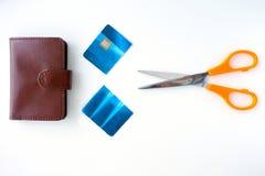 Плоский взгляд положения пары ножниц с кредитом отрезка позаботил и Стоковые Фотографии RF