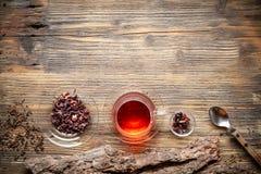 Плоский взгляд положения чашки чаю Стоковые Фотографии RF