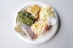 Плоский взгляд положения tradisional Mainese салата картошки Острова Кука Стоковые Фото