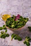 Плоский взгляд положения Vegetable смешанного салата и оливкового масла, Стоковая Фотография RF