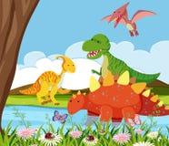 Плоский динозавр в природе иллюстрация штока