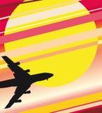 плоский заход солнца иллюстрация вектора