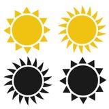 Плоский значок солнца Пиктограмма Солнца Иллюстрация вектора шаблона иллюстрация вектора