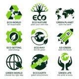 Плоский значок установленный для зеленой планеты eco иллюстрация штока