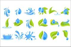 Плоский комплект вектора голубых падений и брызгает с зелеными листьями Элементы для логотипа, плаката promo или ярлыка бутылки с бесплатная иллюстрация