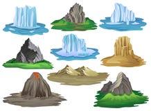Плоский комплект вектора естественных элементов ландшафта Горы окруженные с зеленой травой, вулканом с пропуская лавой иллюстрация вектора