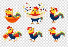 Плоский комплект вектора красочных петухов Птица фермы с яркими пер отечественная пулярка Элементы для открытки или бесплатная иллюстрация