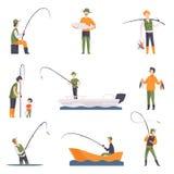 Плоский комплект вектора людей рыбной ловли с рыбами и оборудованием Рыболовы в шлюпках с рыболовными удочками деятельность напол Стоковое Изображение
