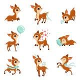 Плоский комплект вектора милого пыжика в различных действиях Персонаж из мультфильма маленьких оленей Прелестное животное леса гр бесплатная иллюстрация