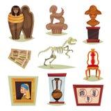 Плоский комплект вектора 9 различных объектов музея Старые экспонаты, билеты, знаки запрета иллюстрация штока