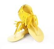 плоский край обувает желтый цвет стоковая фотография rf