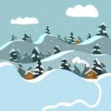 Плоский ландшафт зимы бесплатная иллюстрация