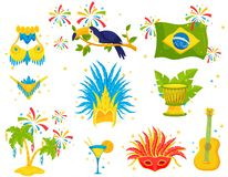 Плоский набор вектора бразильских значков Праздничные атрибуты, костюм самбы, toucan, пальмы и музыкальные инструменты иллюстрация вектора