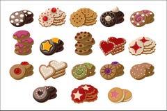 Плоский набор вектора вкусных свеж-испеченных печений с различными вкусами Очень вкусный продукт печенья Сладкие закуски для чая бесплатная иллюстрация