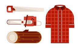 Плоский набор вектора значков связанных с темой lumberjack Checkered рубашка, деревянные инструменты журнала и woodworking электр иллюстрация вектора