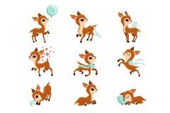 Плоский набор вектора милого оленя в различных действиях Персонаж из мультфильма маленьких оленей Прелестное животное леса График иллюстрация штока