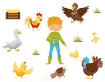 Плоский набор вектора птиц фермы, гнезда цыпленка и девушки с шаром зерна отечественная пулярка Тема земледелия иллюстрация штока