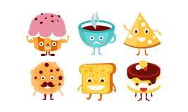 Плоский набор вектора смешных характеров еды и напитка Humanized помадки и чашка кофе Дизайн вектора шаржа бесплатная иллюстрация