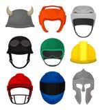 Плоский набор вектора 9 шлемов Защитный headgear для рыцаря, построителя, мотоциклиста, боксера, футбола и хоккеистов иллюстрация штока