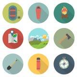 Плоский набор значков: Приключение и располагаться лагерем, отключения и перемещение стоковое фото