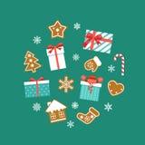 Плоский набор рождества Коробки подарков, печенья пряника, хлопья снега иллюстрация штока