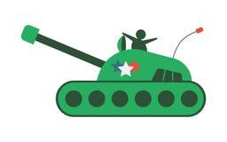Плоский нарисованный вручную танк шаржа, значок бронированного транспортного средства, иллюстрация вектора изолированная на белой стоковое изображение rf