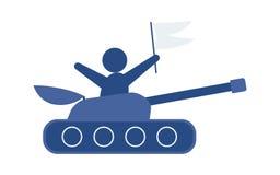 Плоский нарисованный вручную танк шаржа, иллюстрация вектора изолированная на белой предпосылке Плоский значок вектора шаржа голу стоковые фото