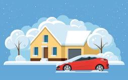 Плоский небольшой дом панорамы под снегом и автомобилем, сугробами Город под снегом, концепцией города зимы также вектор иллюстра стоковые фотографии rf