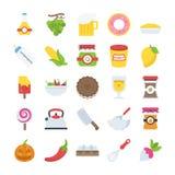 Плоский пакет значков еды и пить Стоковое Изображение RF