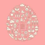 Плоский план пасха и значки весны Стоковая Фотография RF