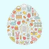 Плоский план пасха и значки весны Стоковое Фото