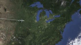 Плоский приезжать к Кливленд, Соединенным Штатам от запада, 3D анимации вступления акции видеоматериалы