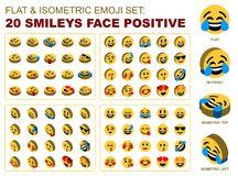 Плоский равновеликий позитв стороны Smileys Emoji установленный Стоковая Фотография RF