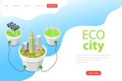 Плоский равновеликий шаблон страницы посадки вектора города eco, панелей солнечных батарей иллюстрация штока