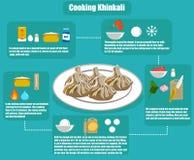 Плоский рецепт khinkali infographics стоковые фотографии rf