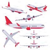 Плоский самолет Перемещение полета воздушных судн, крылья авиации и приземляясь изолированная самолетами иллюстрация вектора иллюстрация штока