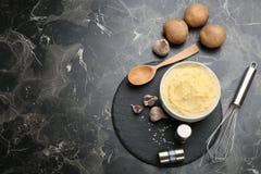 Плоский состав положения с картофельными пюре стоковые фото