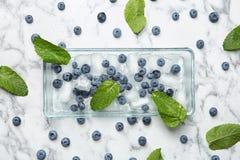 Плоский состав положения с сочными голубиками, листьями зеленого цвета и льдом стоковая фотография rf