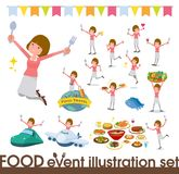 Плоский тип прямой фестиваль women_food волос челок Стоковое Изображение