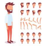 Плоский характер Гая вектора для ваших сцен Творение характера установленное с различными взглядами, эмоциями стороны, фонограммо бесплатная иллюстрация