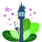 Плоский человек идет к его цели Рассказ Rapunzel, сказка в минималистичном стиле Вектор шаржа бесплатная иллюстрация