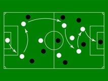 Плоское зеленое поле с стратегией игры футбола также вектор иллюстрации притяжки corel Стоковые Изображения