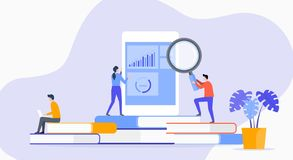 Плоское исследование использования в коммерческих целях технологии иллюстрации с делом людей анализирует команду иллюстрация вектора
